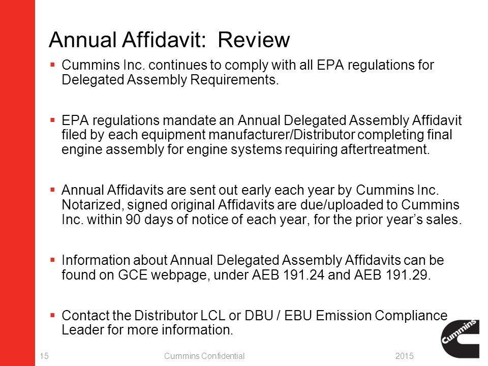Affidavit: Annual Delegated Assembly Emission Compliance 10