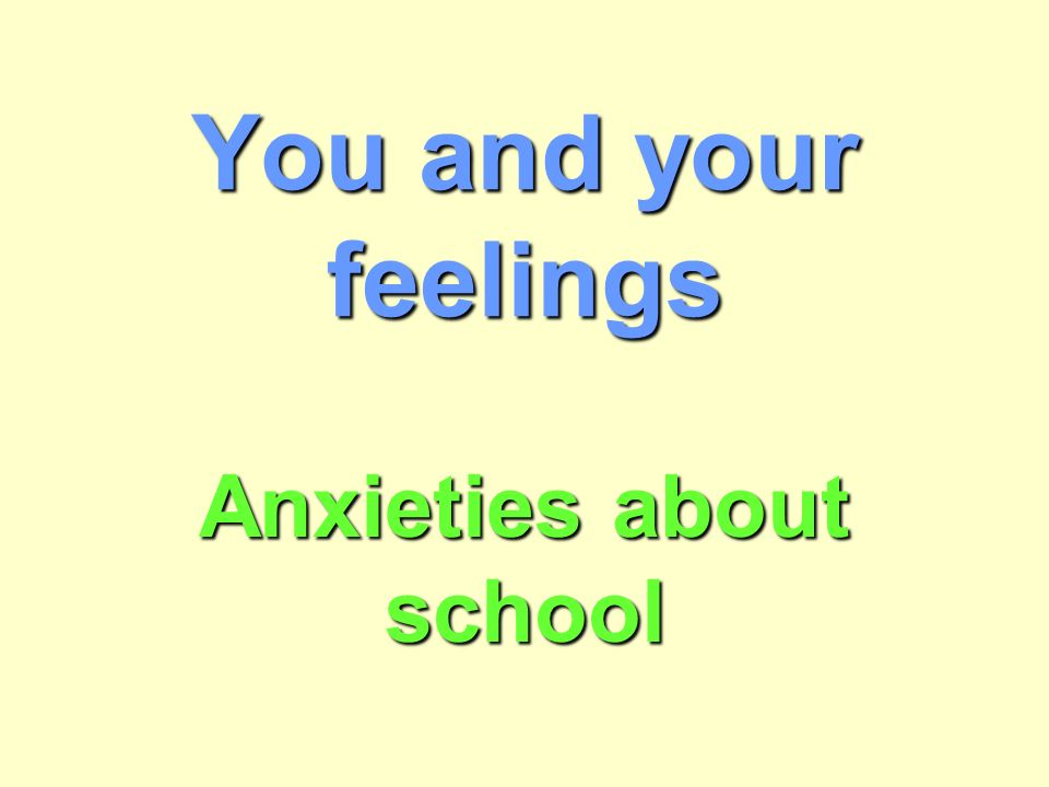 You and your feelings Anxieties about school  How did you feel on