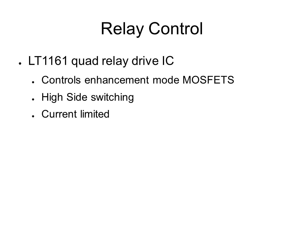 Solid State Amplifier Controller And Sequencer Jeff Millar Wa1hco Switching Current In Relay 12 Control Lt1161 Quad Drive Ic Controls Enhancement Mode Mosfets High Side Limited
