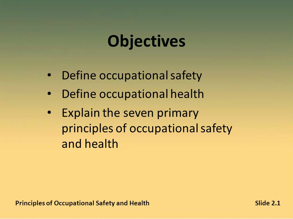 Principles of Occupational Safety and Health A PowerPoint