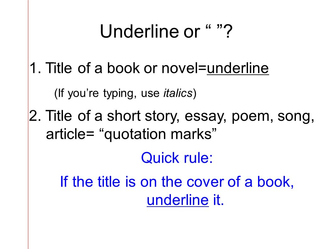 Underlining and quotes rules for dating