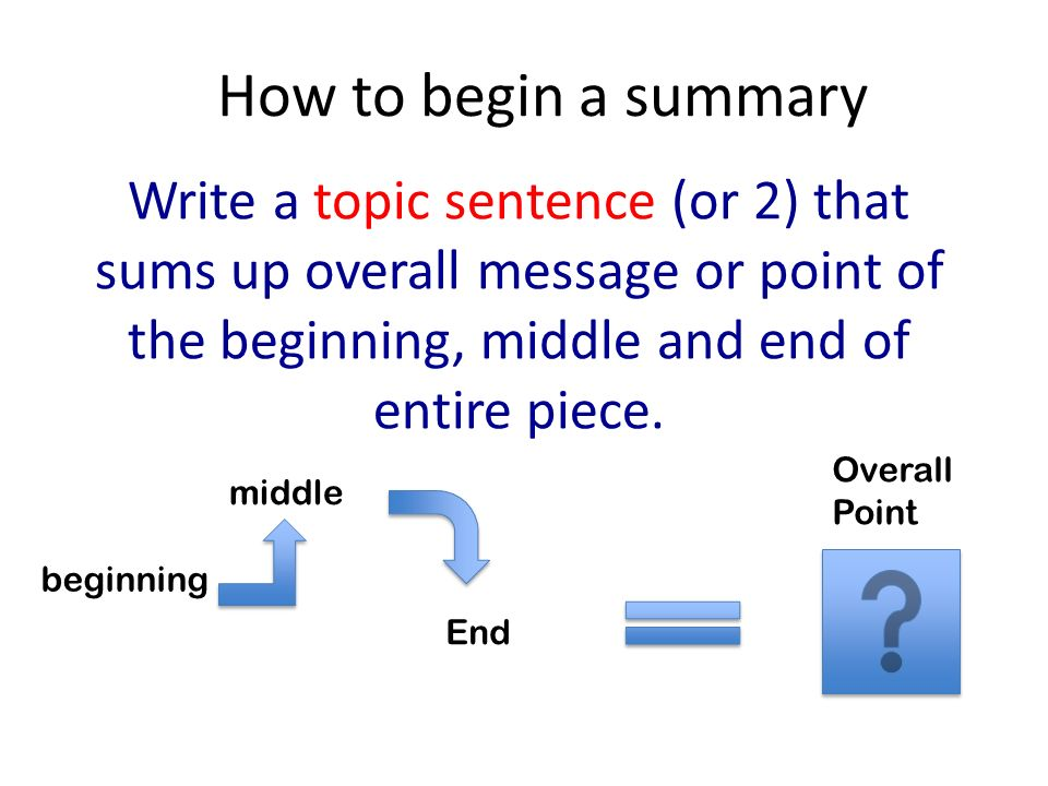 how to begin a summary