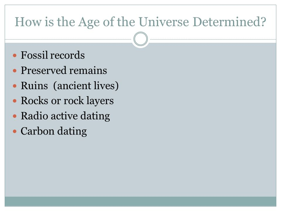 Dating the age of the universe