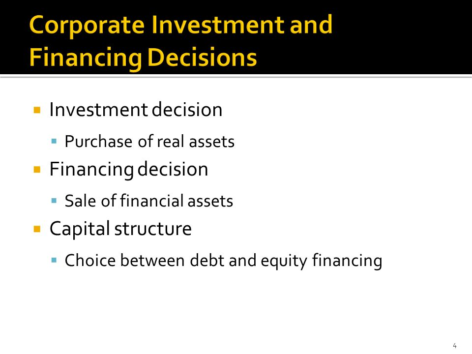 4 Investment Decision Purchase Of Real Assets Financing Sale Financial Capital Structure Choice Between Debt And Equity