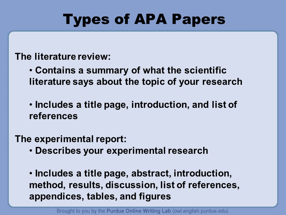 Apa formatting and style guide what is apa the american 5 types of apa papers the literature review ccuart Images