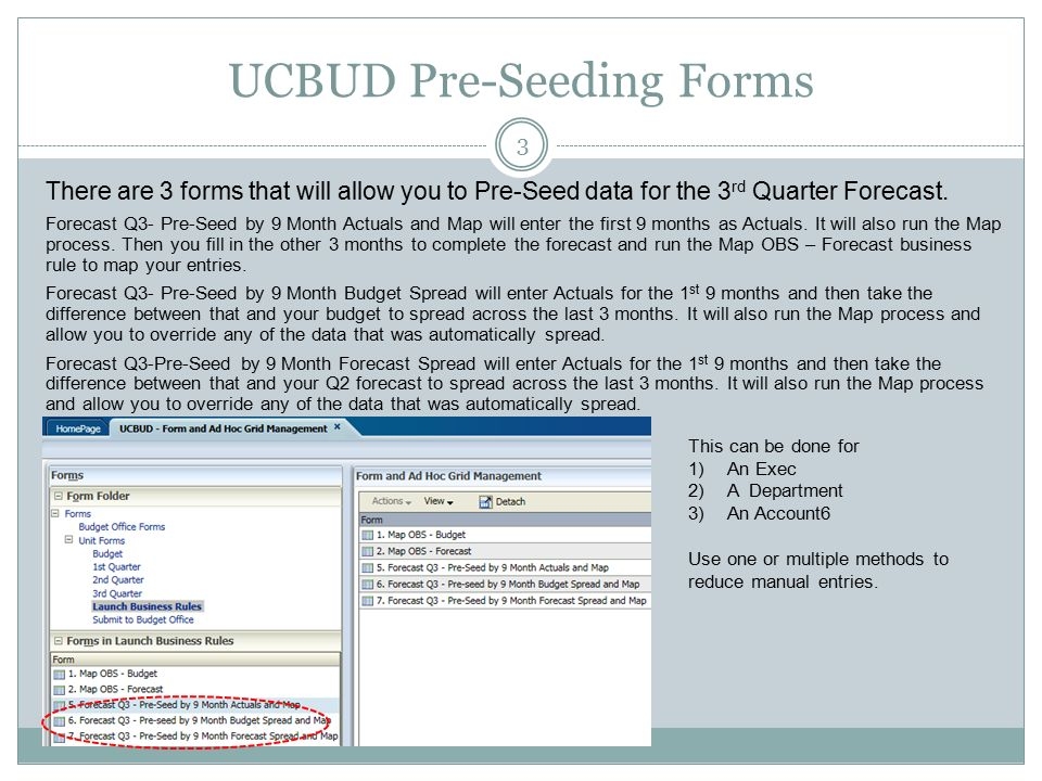 Delphi Q3 Process Mar Ucbud Forecast Forms 2 There Are 4 Forms For