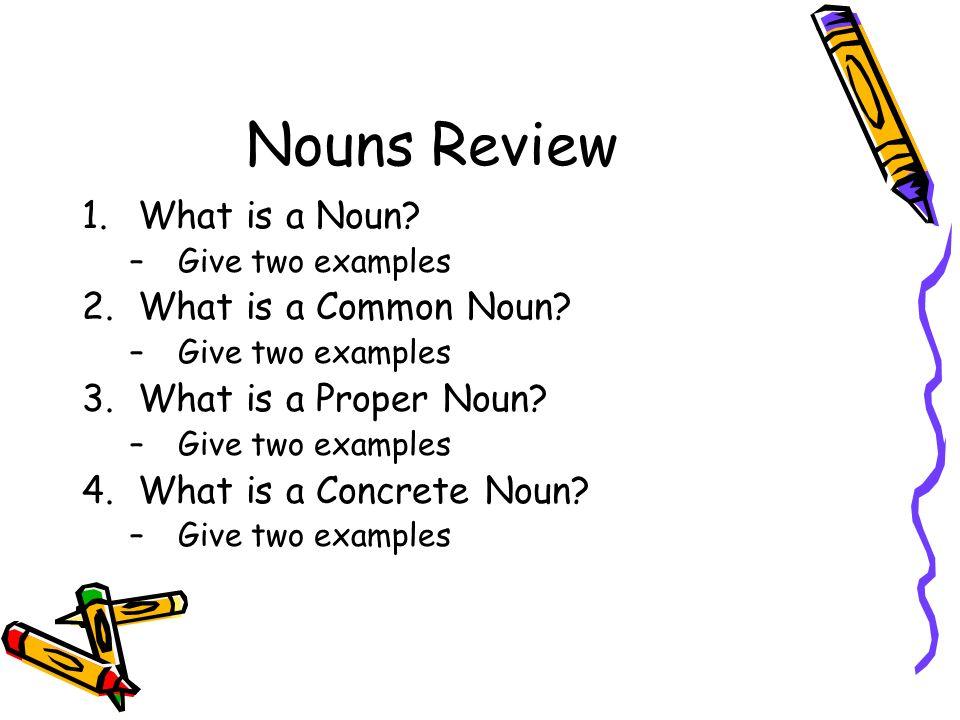 Nouns A person,place, thing or idea.. A common noun names a ...