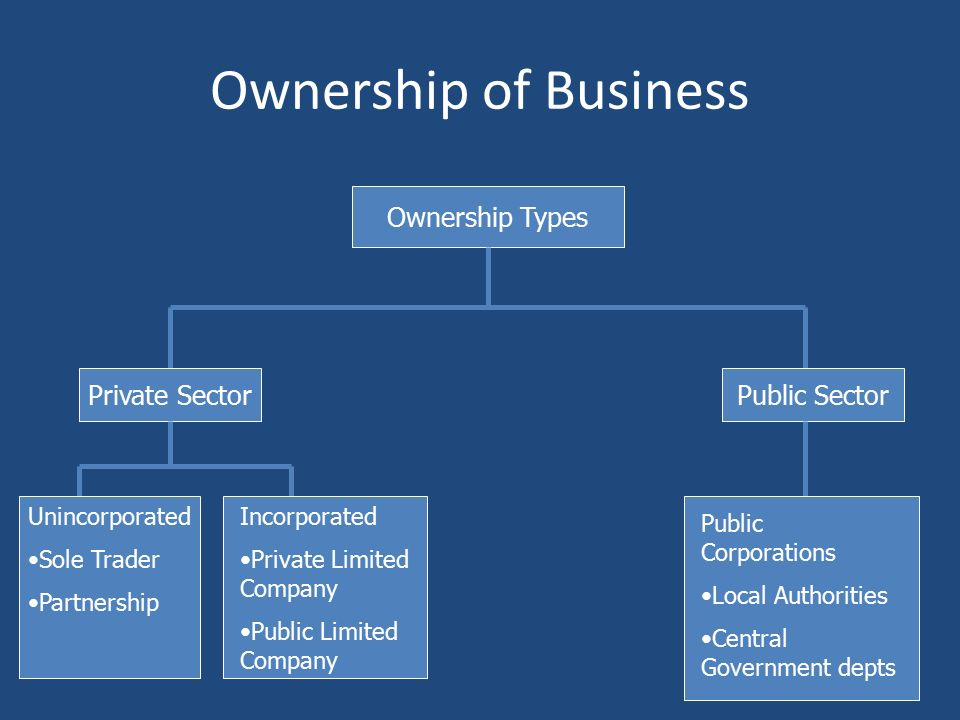 Types of business ownership ib business management ppt download 7 ownership of business ownership types private sectorpublic sector unincorporated sole trader partnership incorporated private limited company public ccuart Images