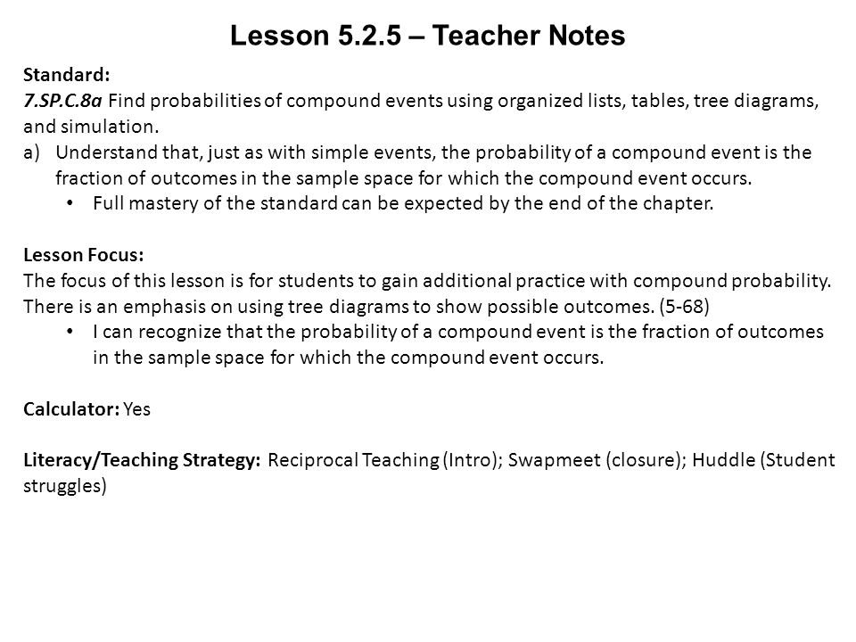 Lesson teacher notes standard 7spc8a find probabilities of 1 lesson ccuart Image collections