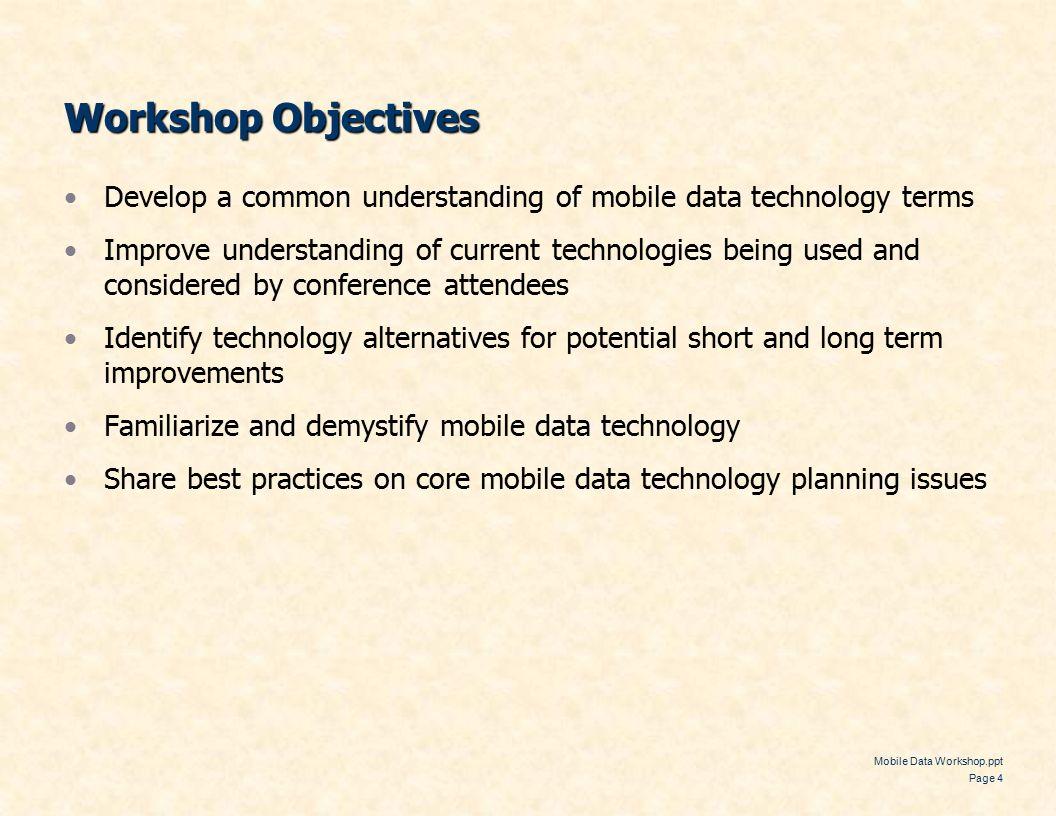 Mobile Data Workshop ppt Page 1 Law Enforcement Information