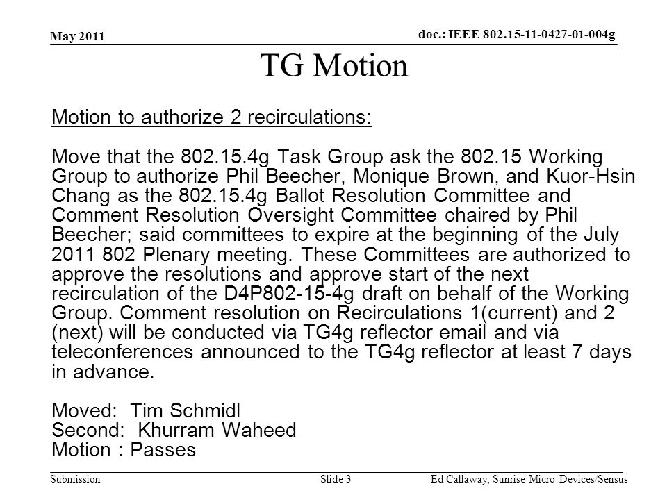 doc.: IEEE Submission TG Motion Motion to authorize 2 recirculations: Move that the g Task Group ask the Working Group to authorize Phil Beecher, Monique Brown, and Kuor-Hsin Chang as the g Ballot Resolution Committee and Comment Resolution Oversight Committee chaired by Phil Beecher; said committees to expire at the beginning of the July Plenary meeting.