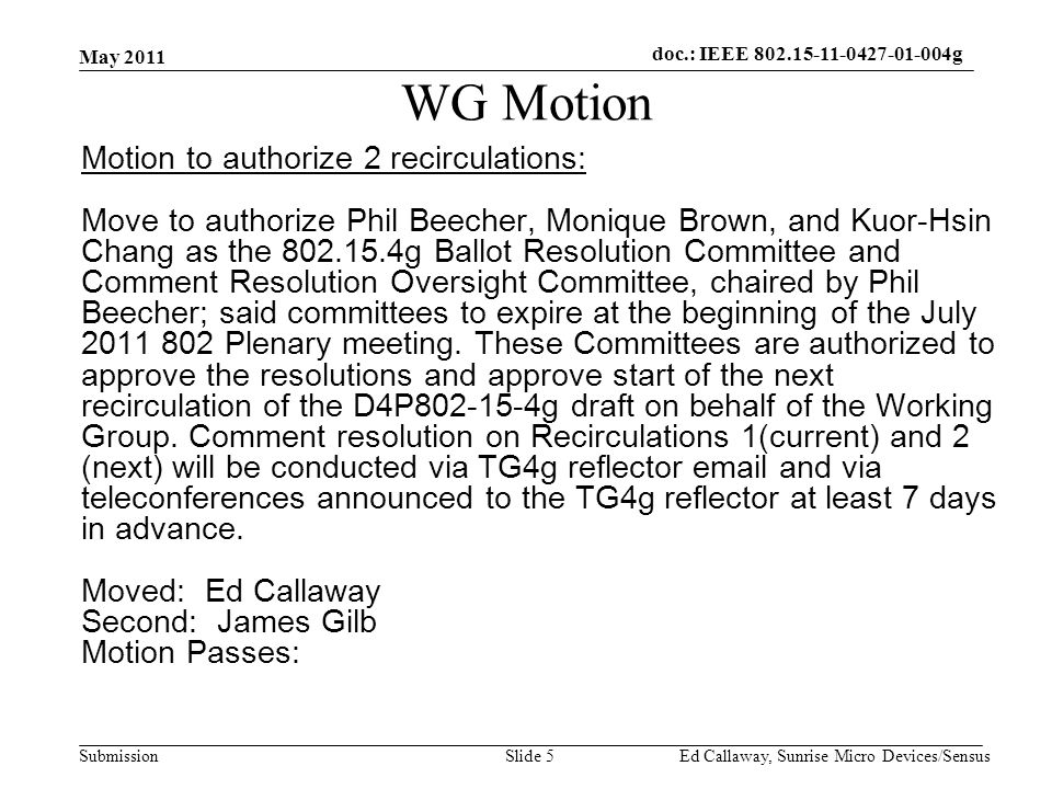 doc.: IEEE Submission WG Motion Motion to authorize 2 recirculations: Move to authorize Phil Beecher, Monique Brown, and Kuor-Hsin Chang as the g Ballot Resolution Committee and Comment Resolution Oversight Committee, chaired by Phil Beecher; said committees to expire at the beginning of the July Plenary meeting.