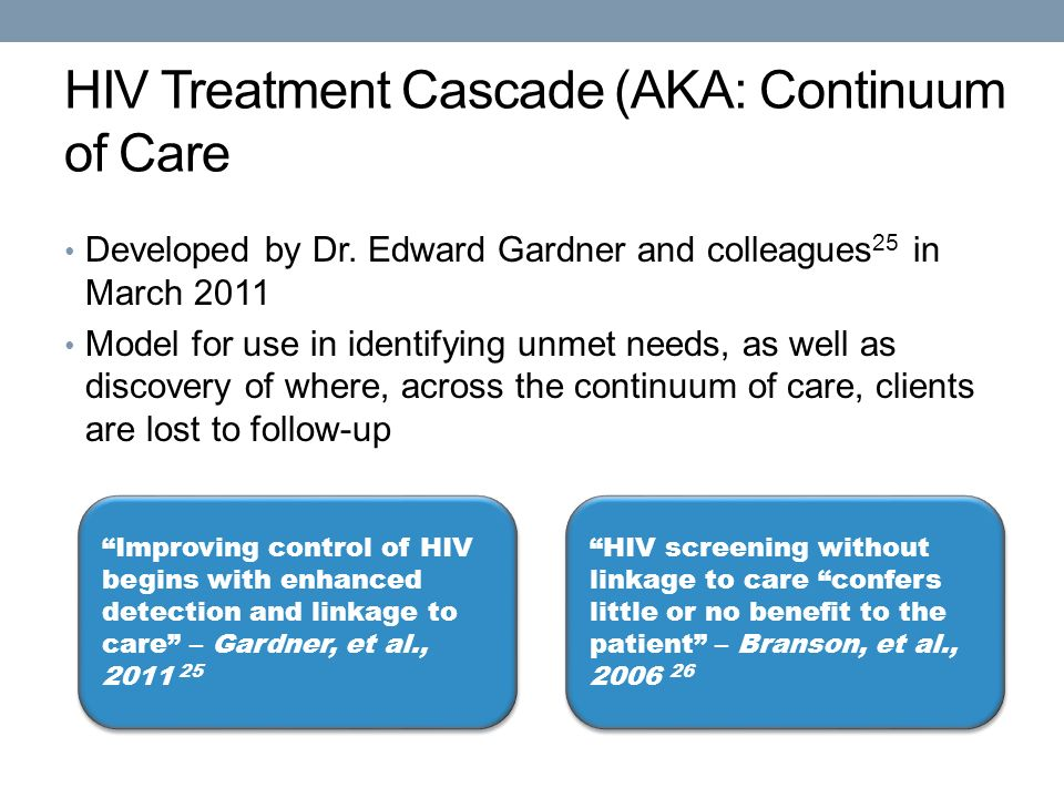 HIV Treatment Cascade (AKA: Continuum of Care Developed by Dr.
