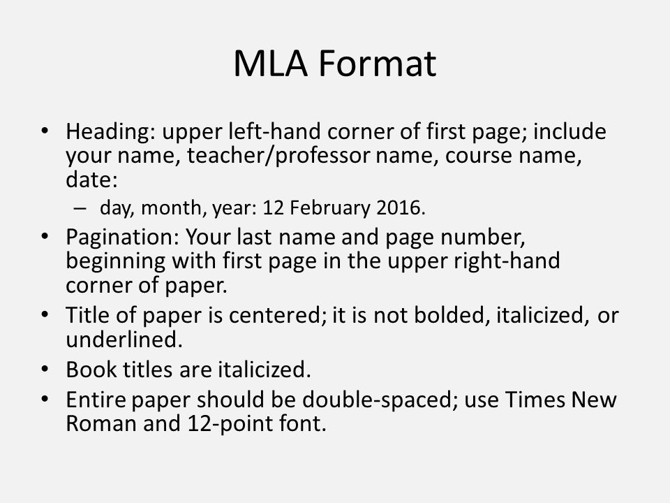 mla mla format heading upper left hand corner of first page
