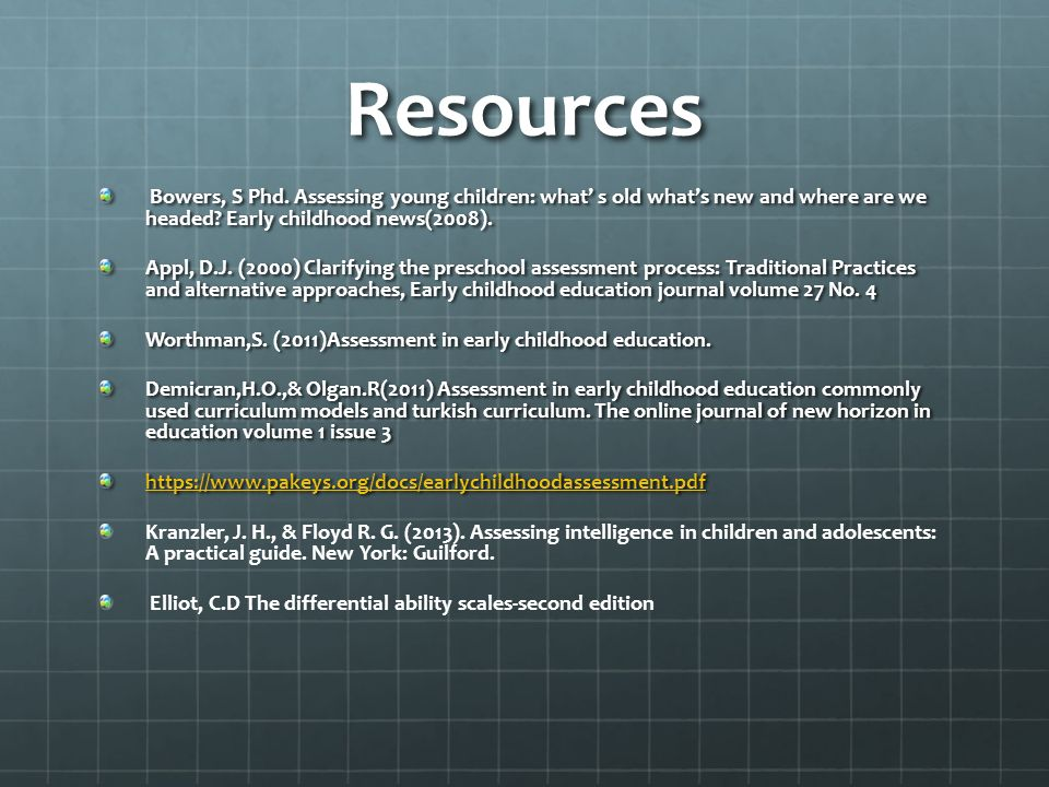 Assessment in Cognitive Abilities in Early Childhood By: Ria