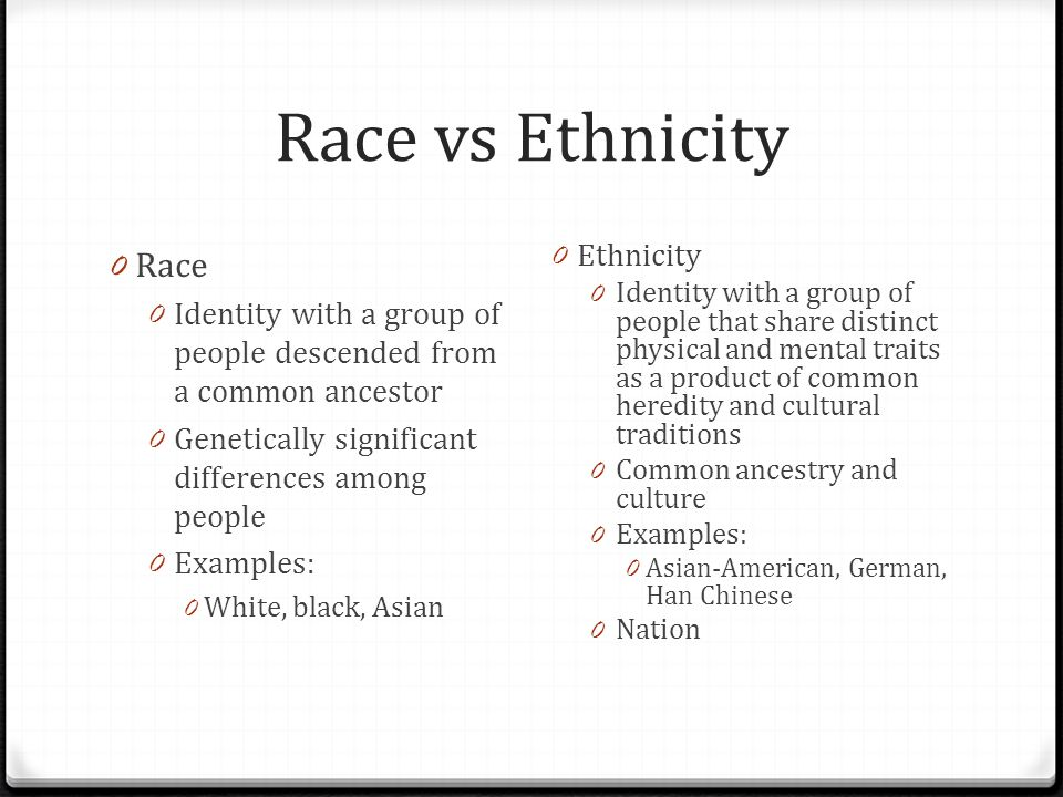 Ethnicity And The State Race Vs Ethnicity 0 Race 0 Identity With A