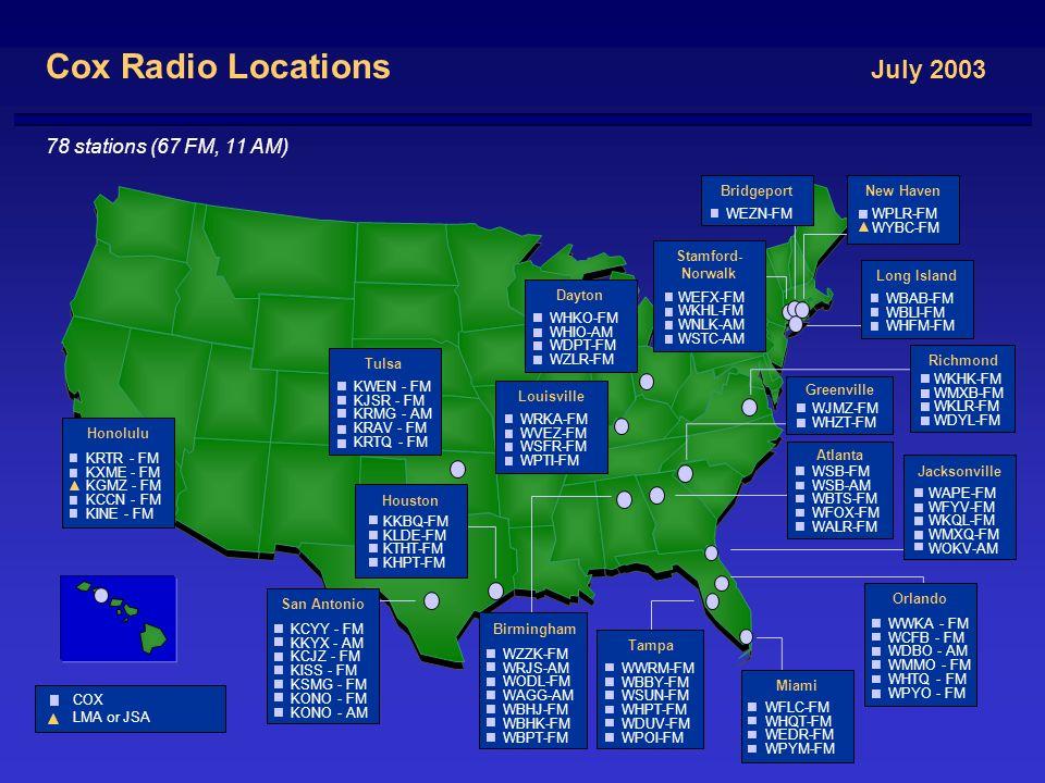 3 Radio Locations July 2003