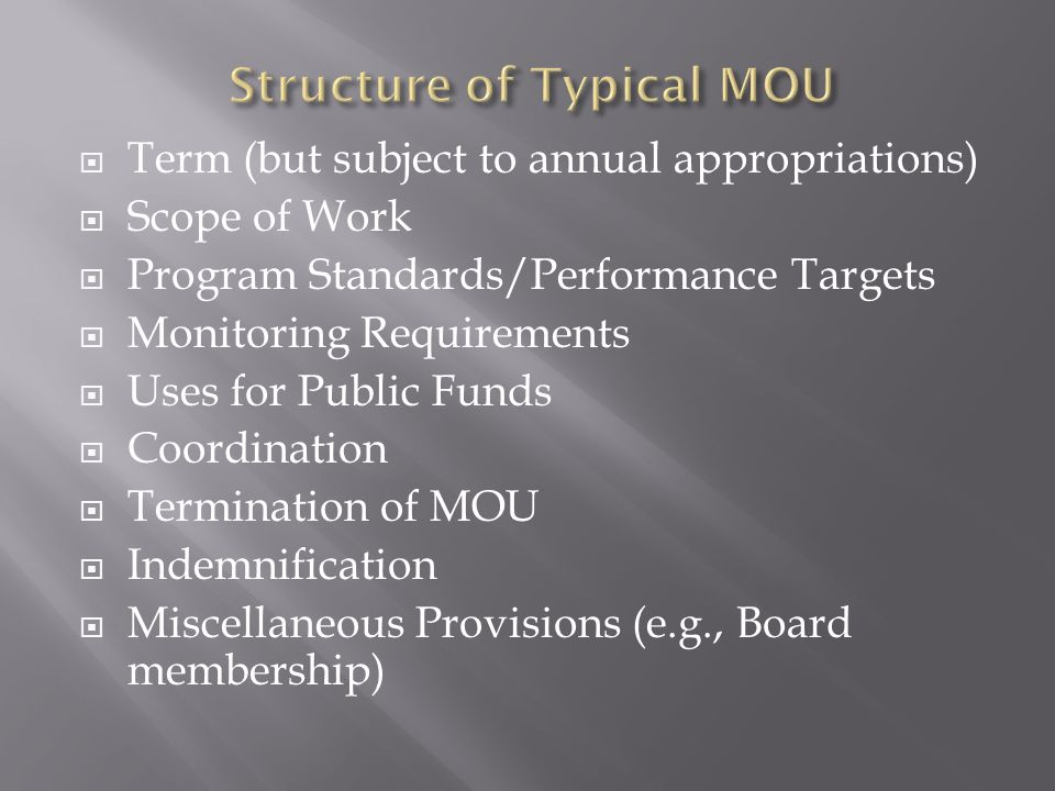  Term (but subject to annual appropriations)  Scope of Work  Program Standards/Performance Targets  Monitoring Requirements  Uses for Public Funds  Coordination  Termination of MOU  Indemnification  Miscellaneous Provisions (e.g., Board membership)