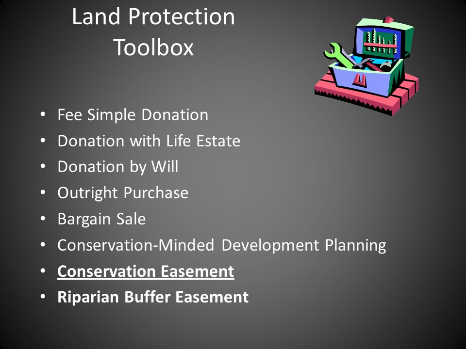 Land Protection Toolbox Fee Simple Donation Donation with Life Estate Donation by Will Outright Purchase Bargain Sale Conservation-Minded Development Planning Conservation Easement Riparian Buffer Easement