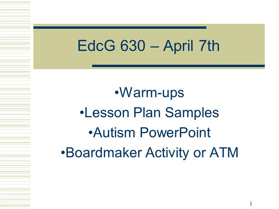 1 Warm Ups Lesson Plan Samples Autism Powerpoint Boardmaker Activity