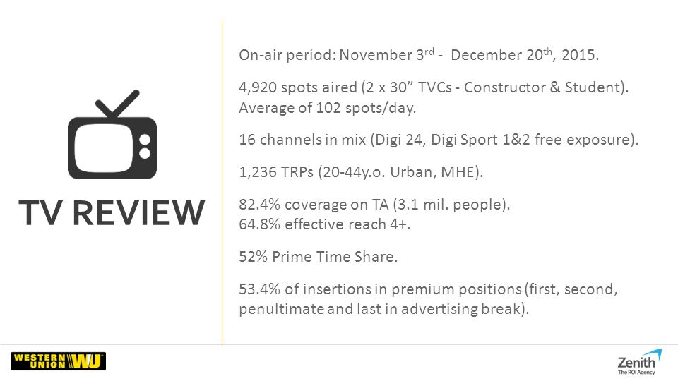 TV REVIEW On-air period: November 3 rd - December 20 th
