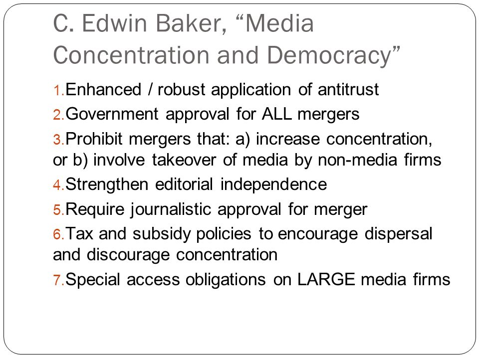 media concentration and democracy baker c edwin