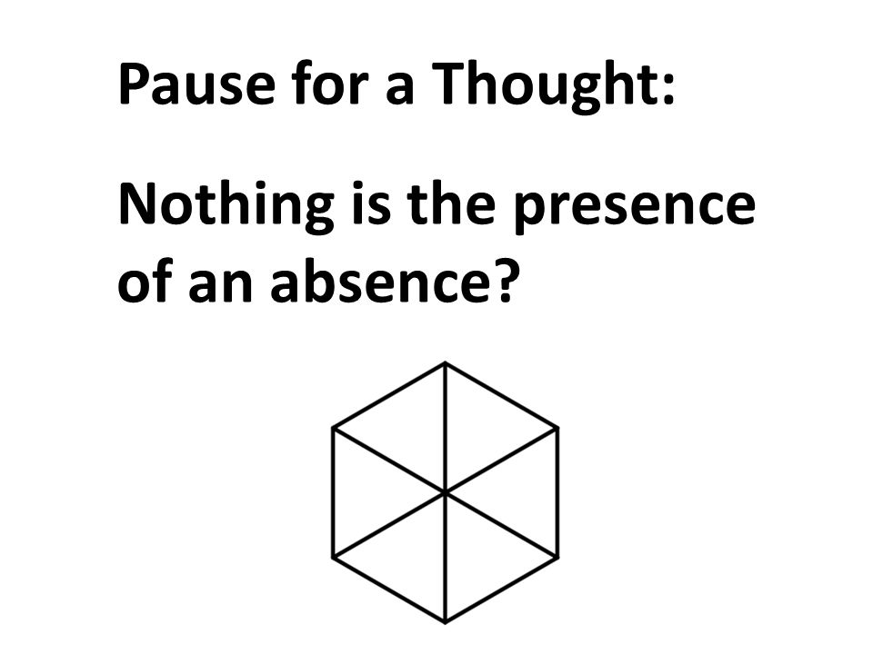 Pause for a Thought: Nothing is the presence of an absence