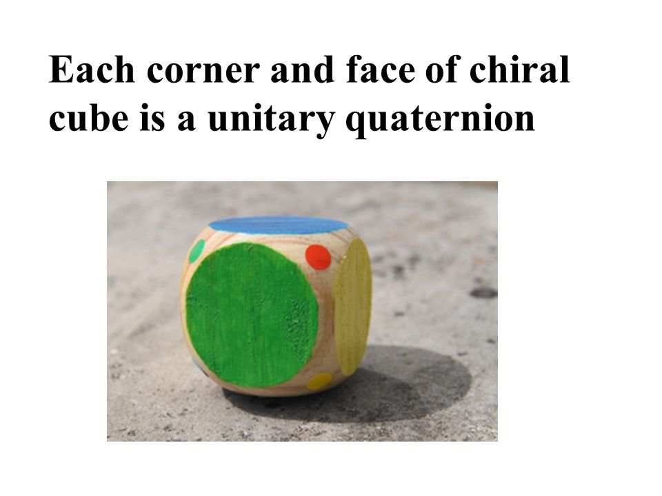 Each corner and face of chiral cube is a unitary quaternion