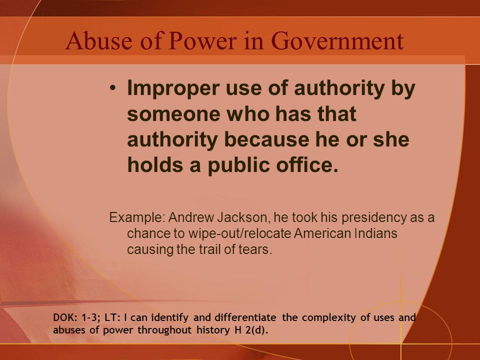 abuse of power examples in history