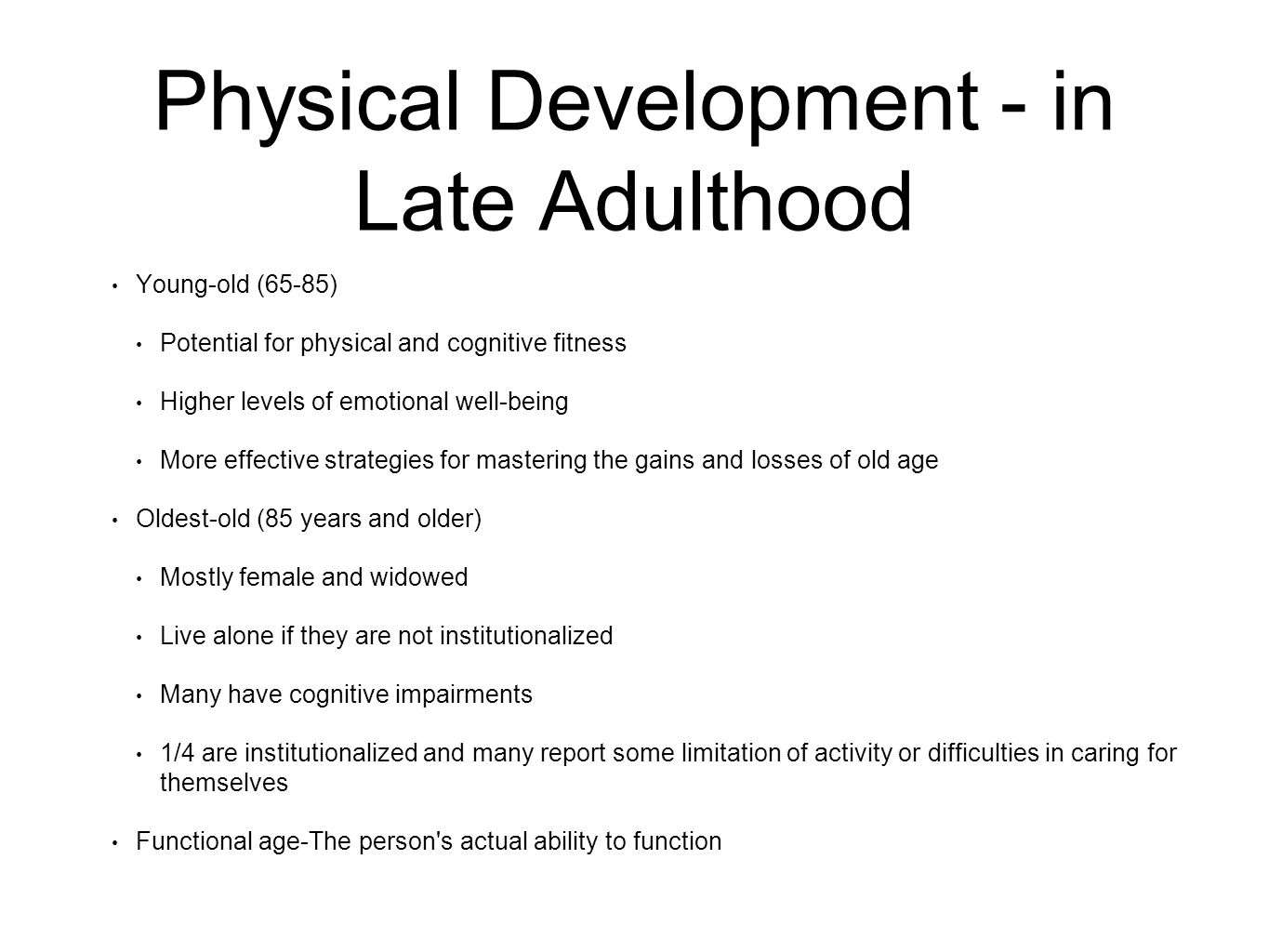 cognitive development in late adulthood