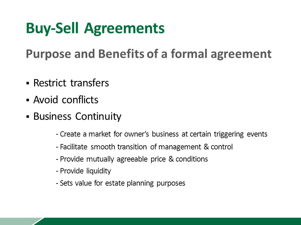 Business Succession Strategies Buy Sell Agreements Considerations