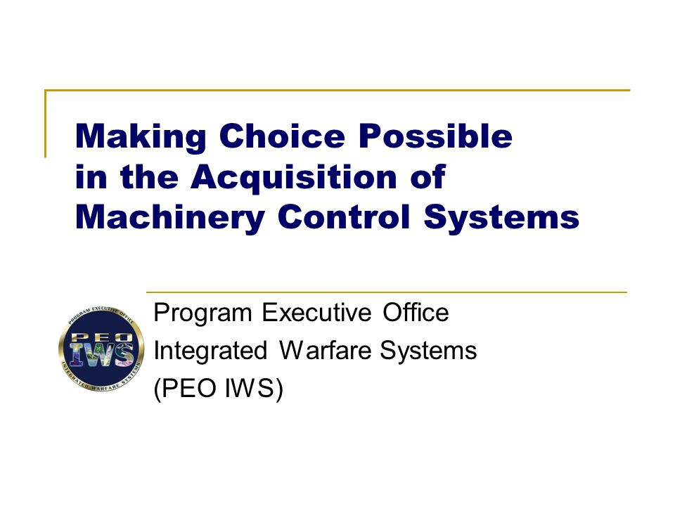 making choice possible in the acquisition of machinery control rh slideplayer com