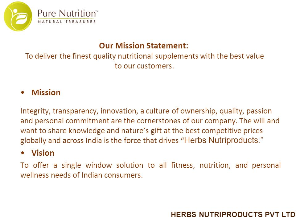 HERBS NUTRIPRODUCTS PVT LTD  Herbs Nutriproducts Pvt  Ltd (HNPL) was
