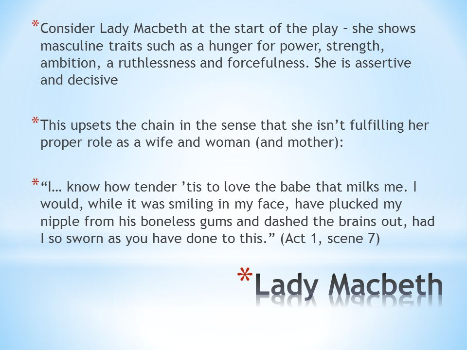how does lady macbeth show power