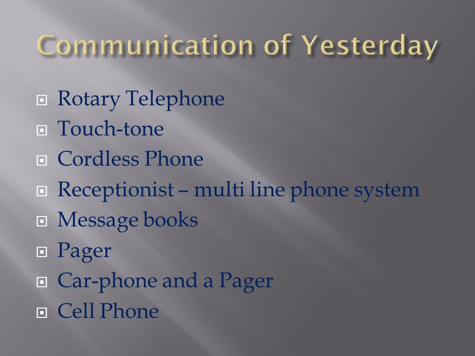 Communication of Yesterday, Today and Tomorrow   People