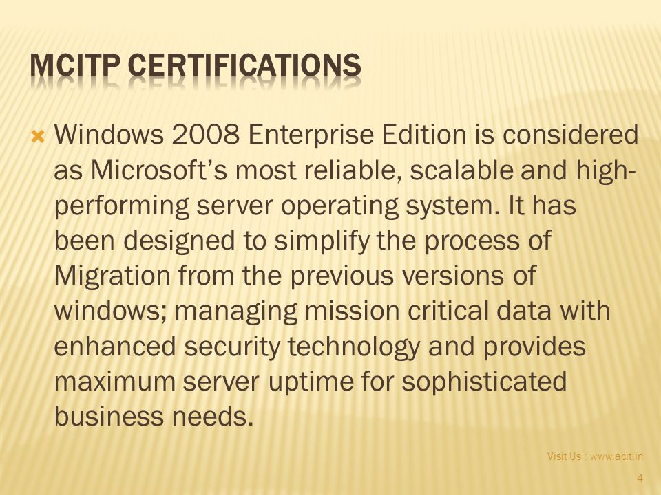 1 Visit Us The Microsoft Certified It Professional Mcitp