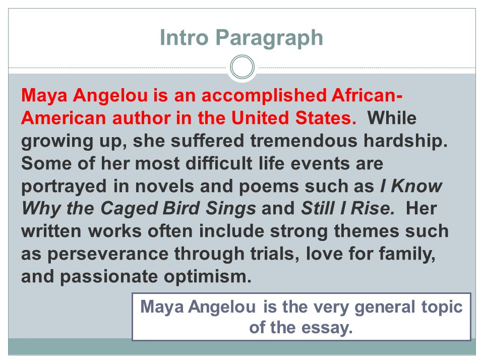 two different paths to the same goal organizing a compare  contrast  intro paragraph maya angelou is an accomplished african  american author in  the united states