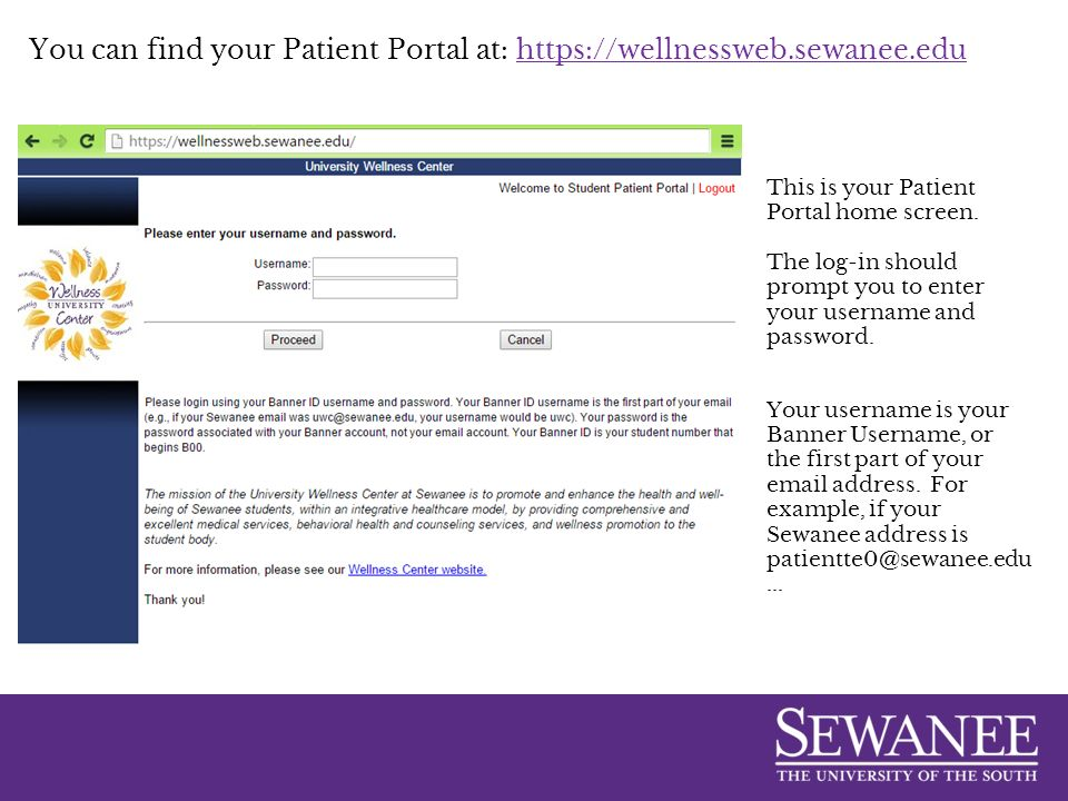 How to use your Sewanee Student Patient Portal  You can find