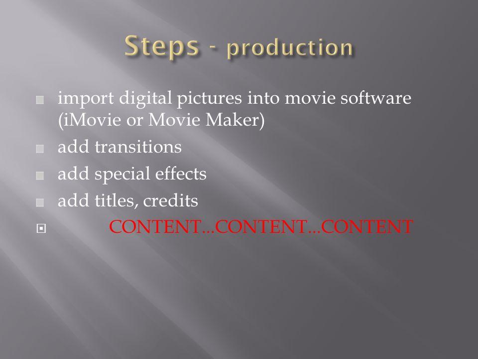Movies iMovie/MovieMaker Photos - iPhoto PowerPoint/Keynote Podcasts
