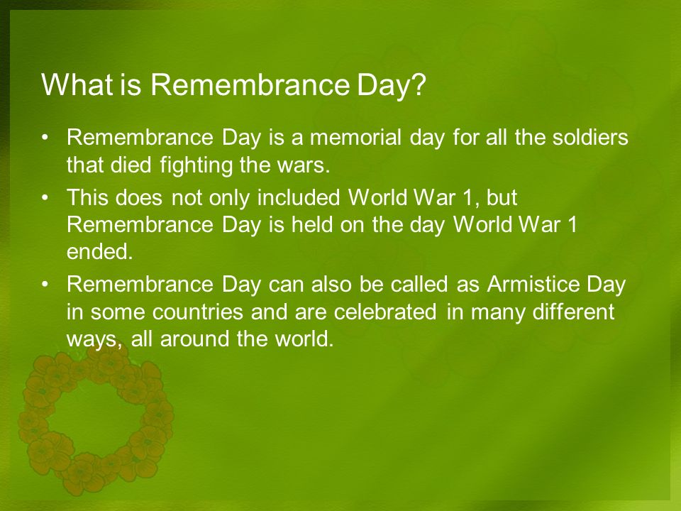 Remembrance Day Dimensional Facts Powerpoint Template