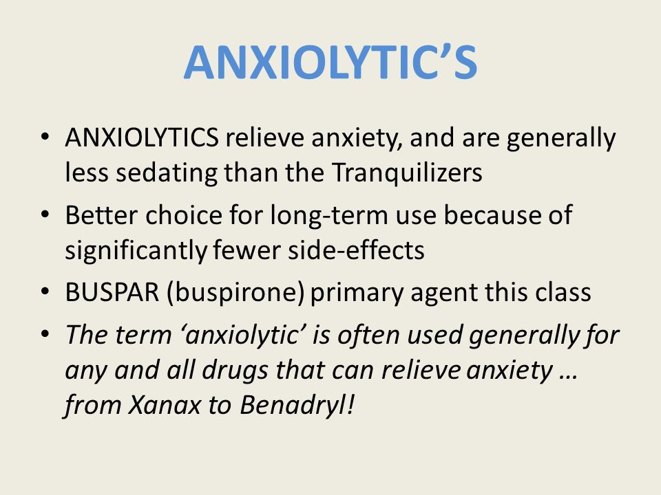 Tranquilizers & Antidepressants Chapter 23 (pg