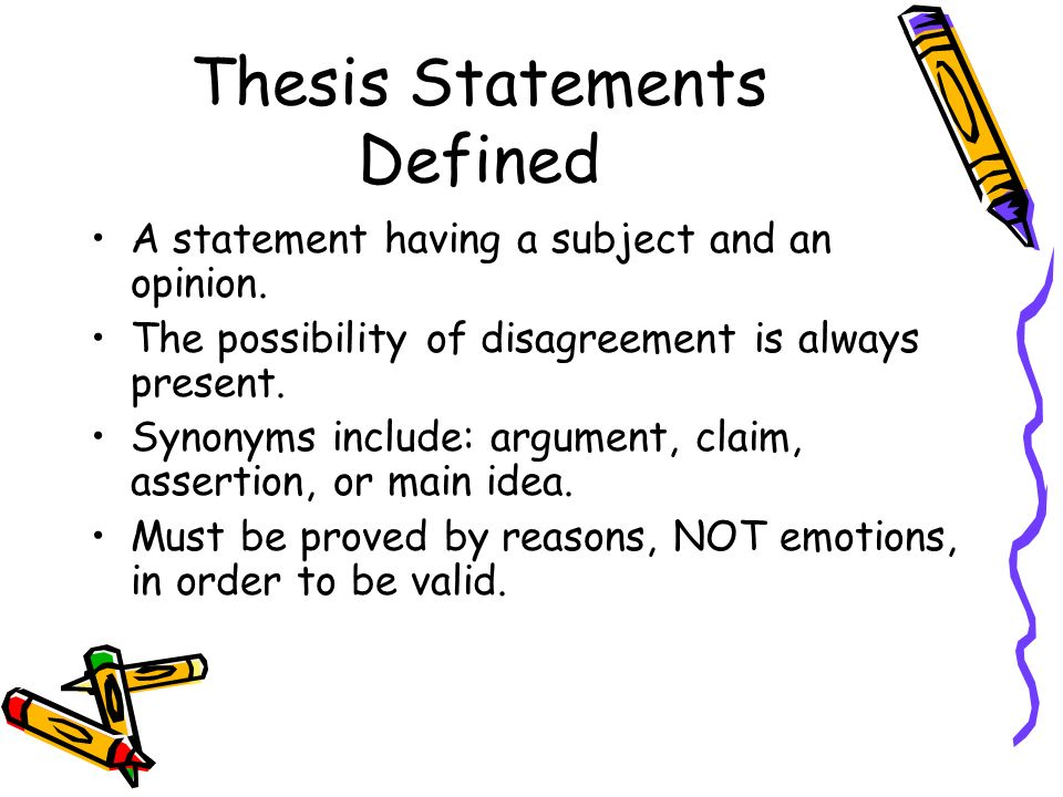 Thesis Statements Definitionpurpose Writing One Thesis Statements