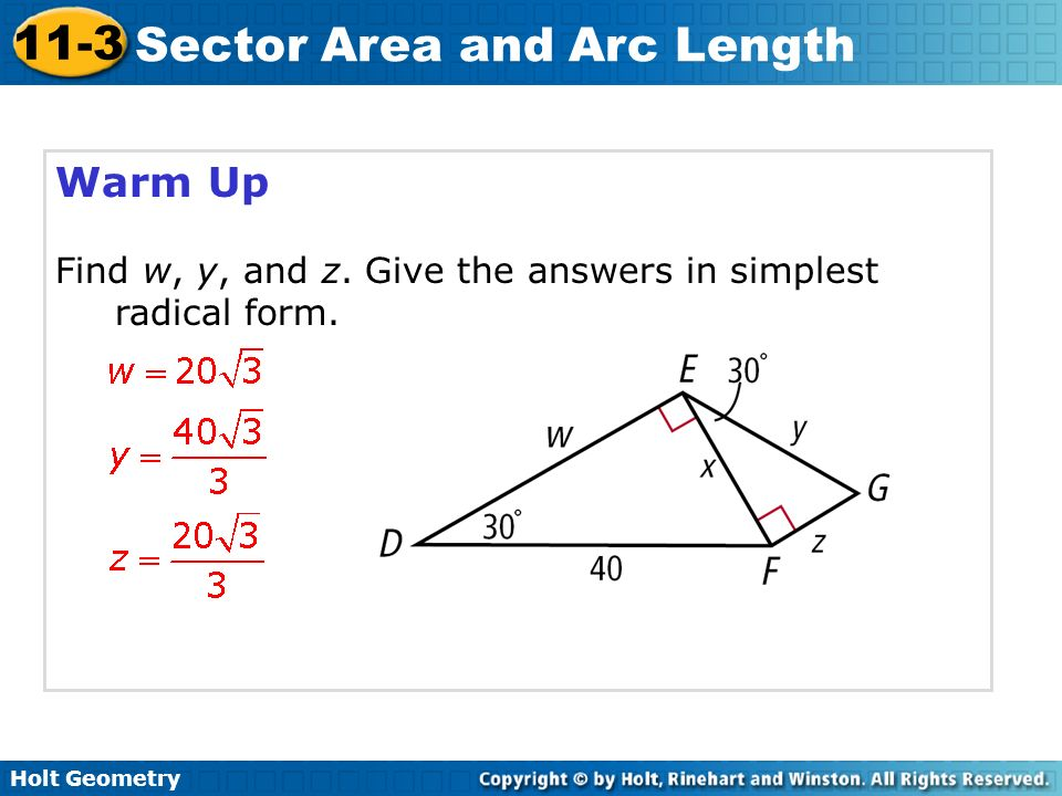 Holt Geometry 11 3 Sector Area And Arc Length 11 3 Sector Area And