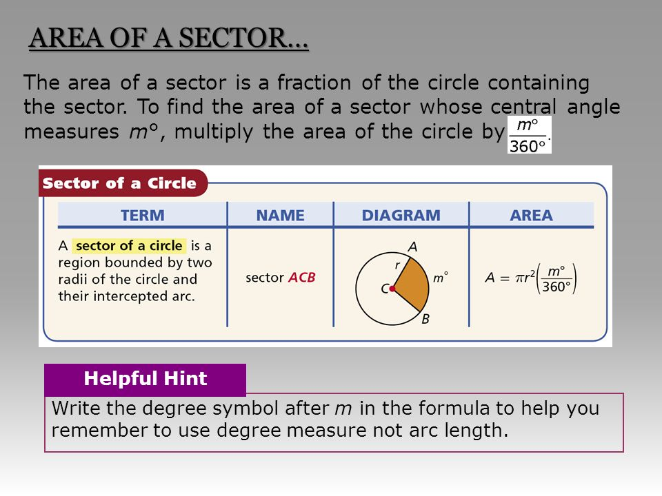 Section 11 3 Sector Area And Arc Length The Area Of A Sector Is A