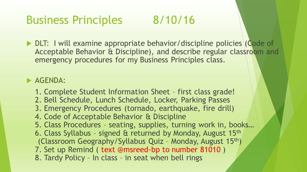 Business Principles Ms  Kathi Reed Business Principles8/09