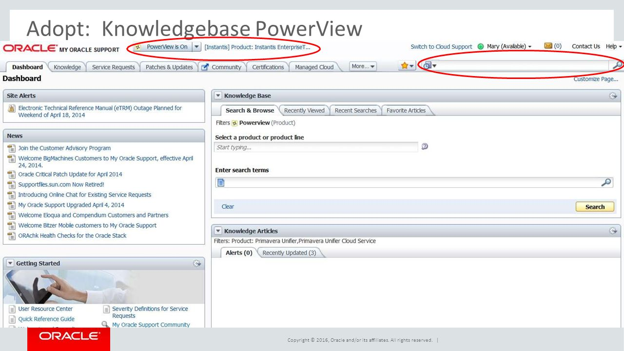 Adopt:Knowledgebase PowerView Copyright © 2016, Oracle and/or its affiliates.