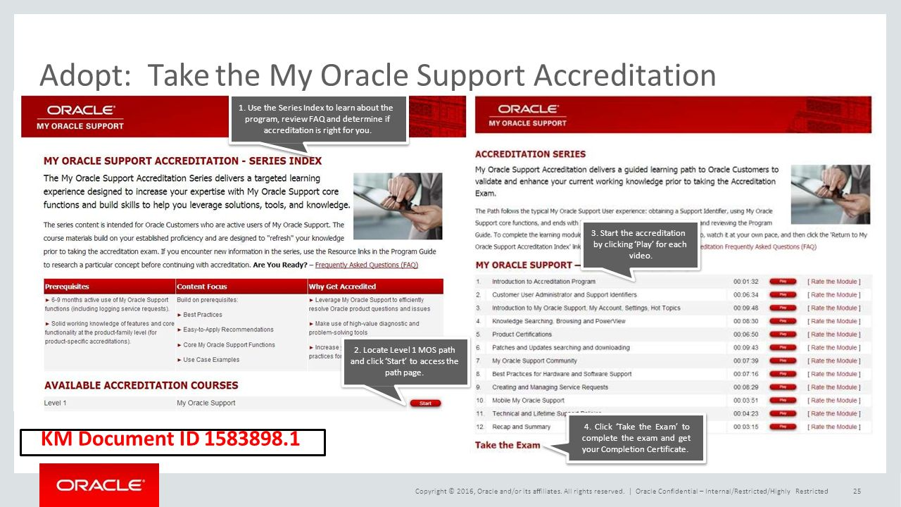Adopt:Take the My Oracle Support Accreditation 3.