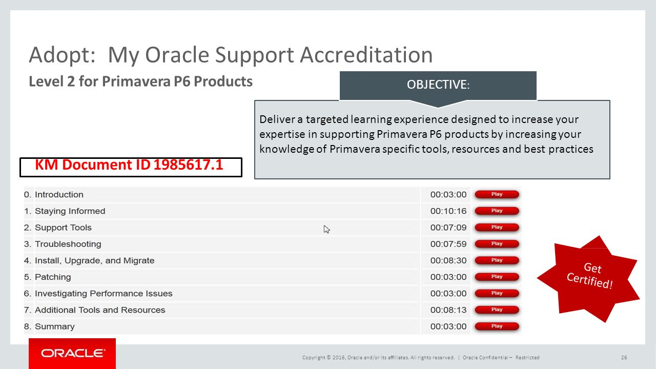 Adopt:My Oracle Support Accreditation Deliver a targeted learning experience designed to increase your expertise in supporting Primavera P6 products by increasing your knowledge of Primavera specific tools, resources and best practices OBJECTIVE : Level 2 for Primavera P6 Products KM Document ID Copyright © 2016, Oracle and/or its affiliates.