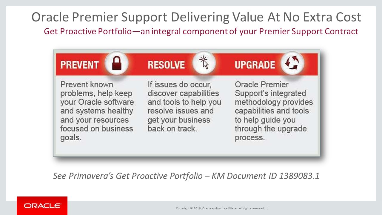 Oracle Premier Support Delivering Value At No Extra Cost Get Proactive Portfolio—an integral component of your Premier Support Contract See Primavera's Get Proactive Portfolio – KM Document ID Copyright © 2016, Oracle and/or its affiliates.