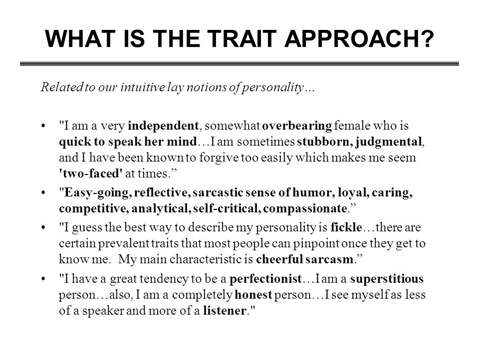 WHAT IS THE TRAIT APPROACH
